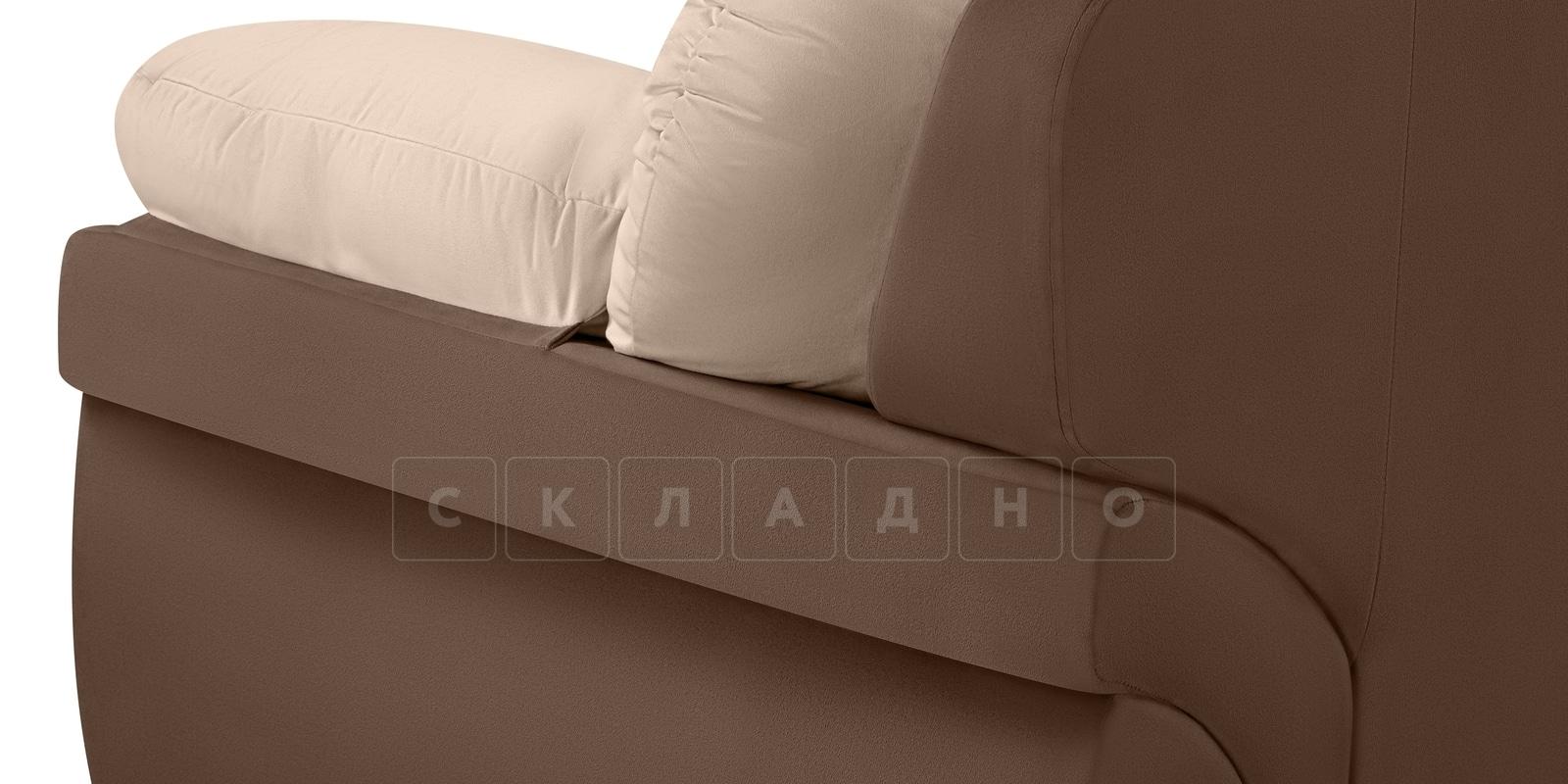 Диван Бристоль велюр бежевый с коричневым фото 5 | интернет-магазин Складно