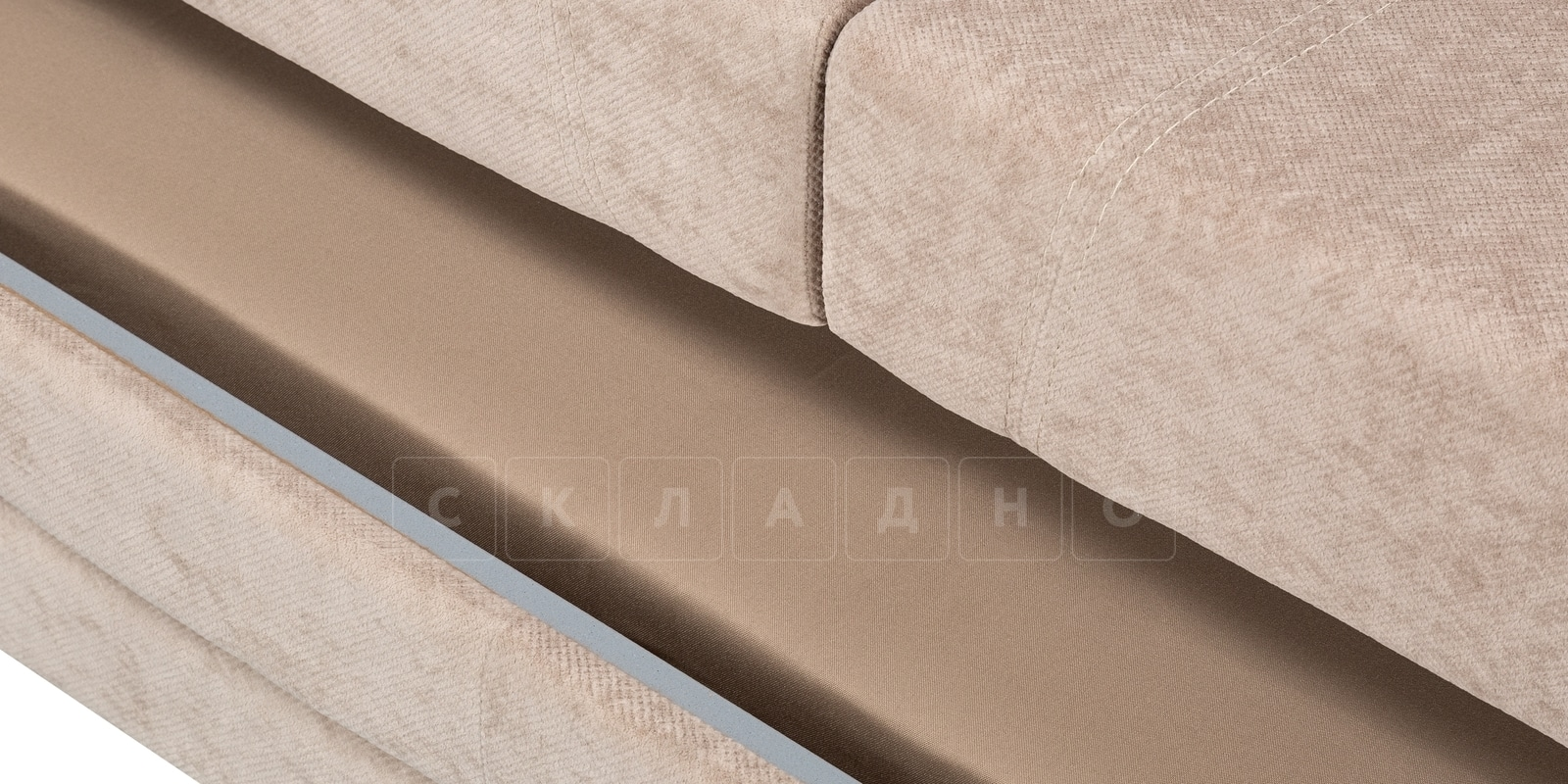 Диван угловой Бристоль флок бежевый правый угол фото 7 | интернет-магазин Складно