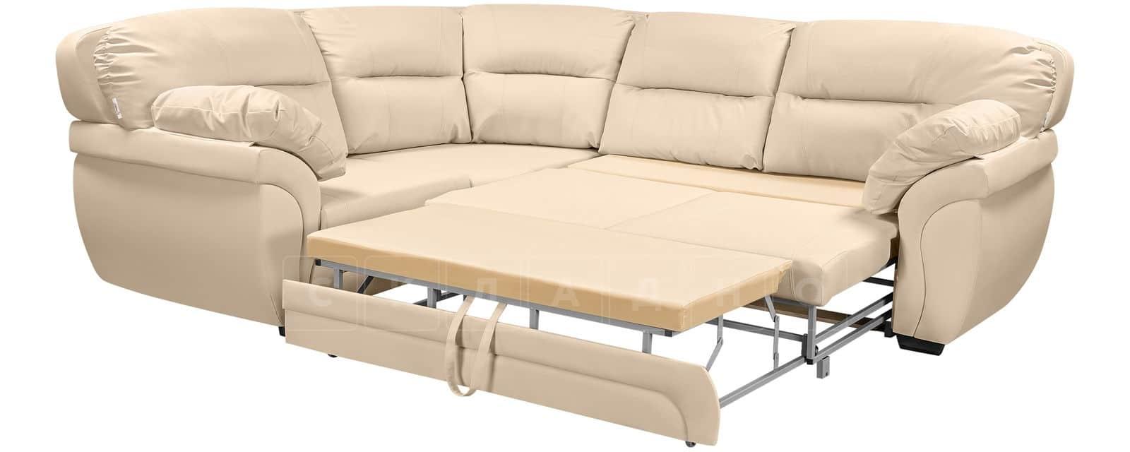Диван угловой Бристоль кожаный бежевого цвета левый угол фото 4   интернет-магазин Складно