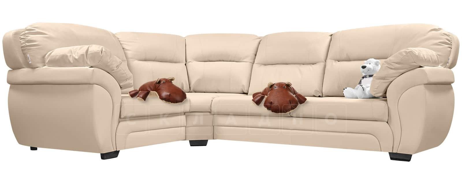 Диван угловой Бристоль кожаный бежевого цвета левый угол фото 5 | интернет-магазин Складно