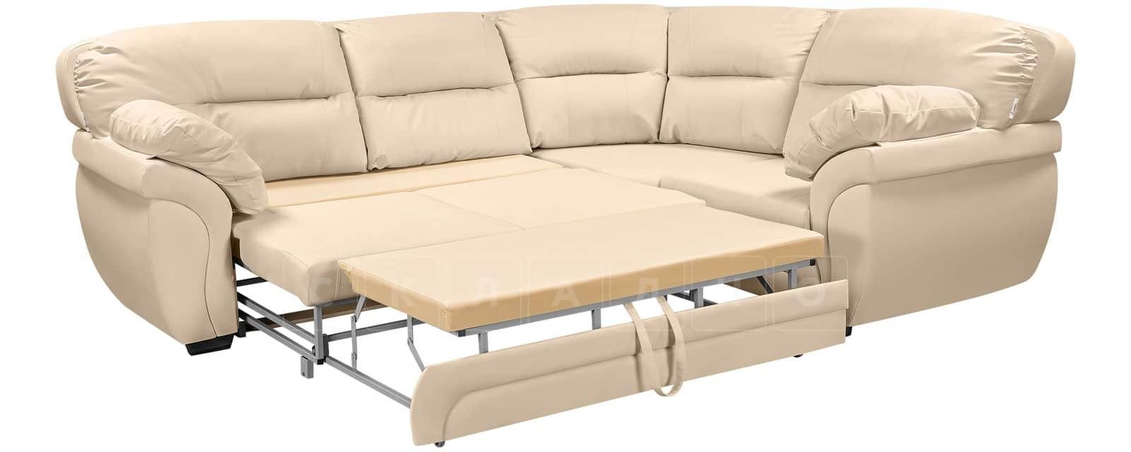 Диван угловой Бристоль кожаный бежевого цвета правый угол фото 4 | интернет-магазин Складно