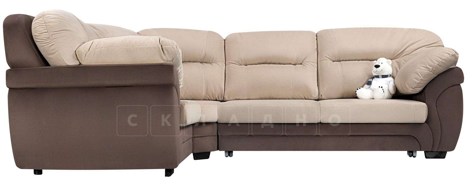 Диван угловой Бристоль велюр бежевый с коричневым левый угол фото 2 | интернет-магазин Складно