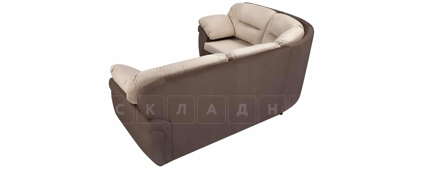 Диван угловой Бристоль велюр бежевый с коричневым левый угол фото 3 | интернет-магазин Складно