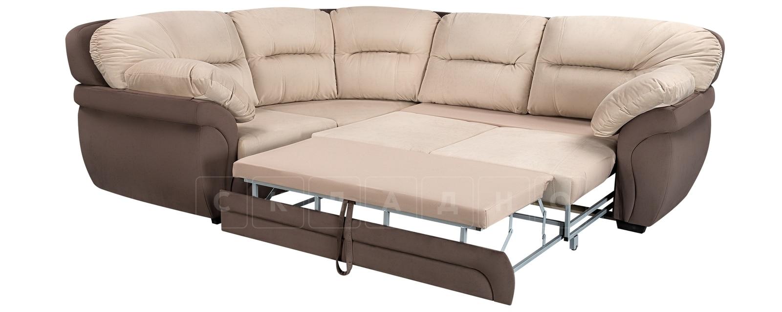 Диван угловой Бристоль велюр бежевый с коричневым левый угол фото 4 | интернет-магазин Складно