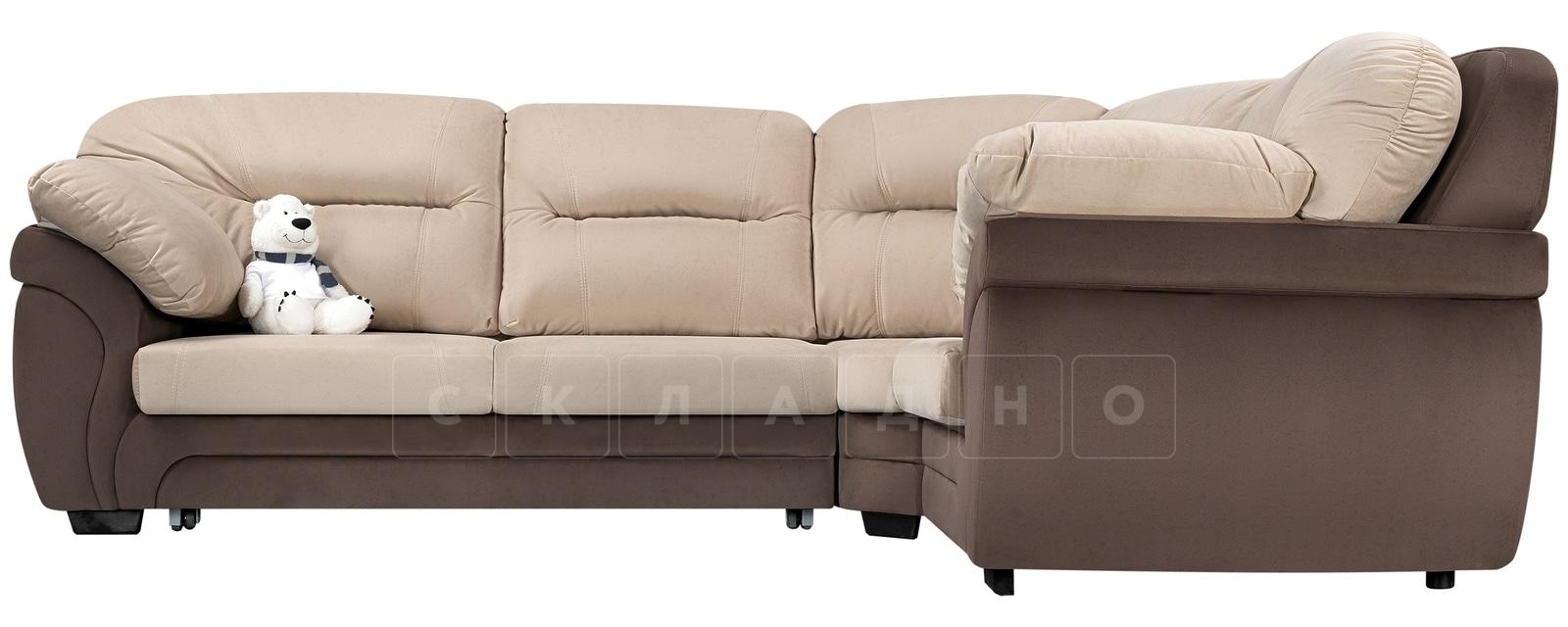 Диван угловой Бристоль велюр бежевый с коричневым правый угол фото 2 | интернет-магазин Складно