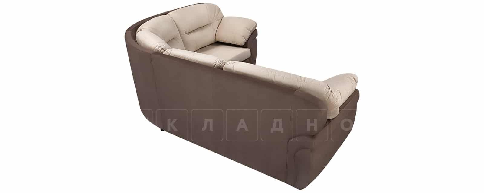 Диван угловой Бристоль велюр бежевый с коричневым правый угол фото 3 | интернет-магазин Складно