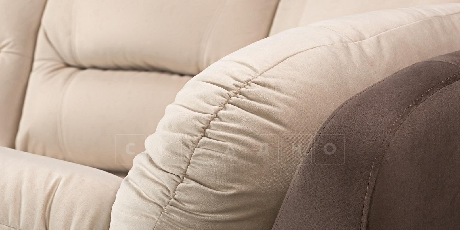 Диван угловой Бристоль велюр бежевый с коричневым правый угол фото 5 | интернет-магазин Складно