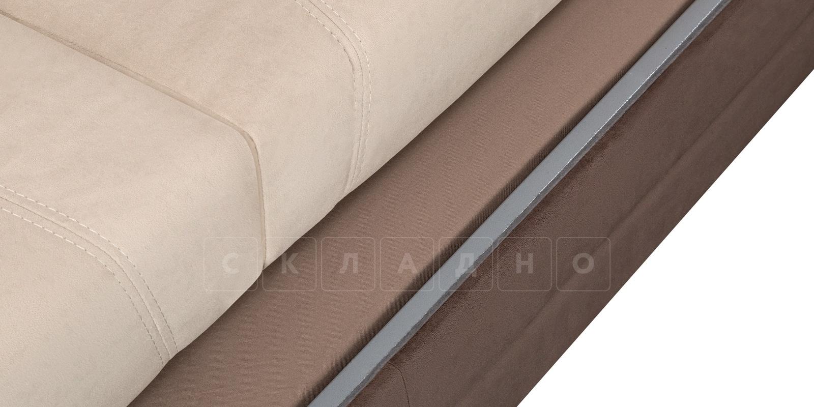 Диван угловой Бристоль велюр бежевый с коричневым правый угол фото 6 | интернет-магазин Складно