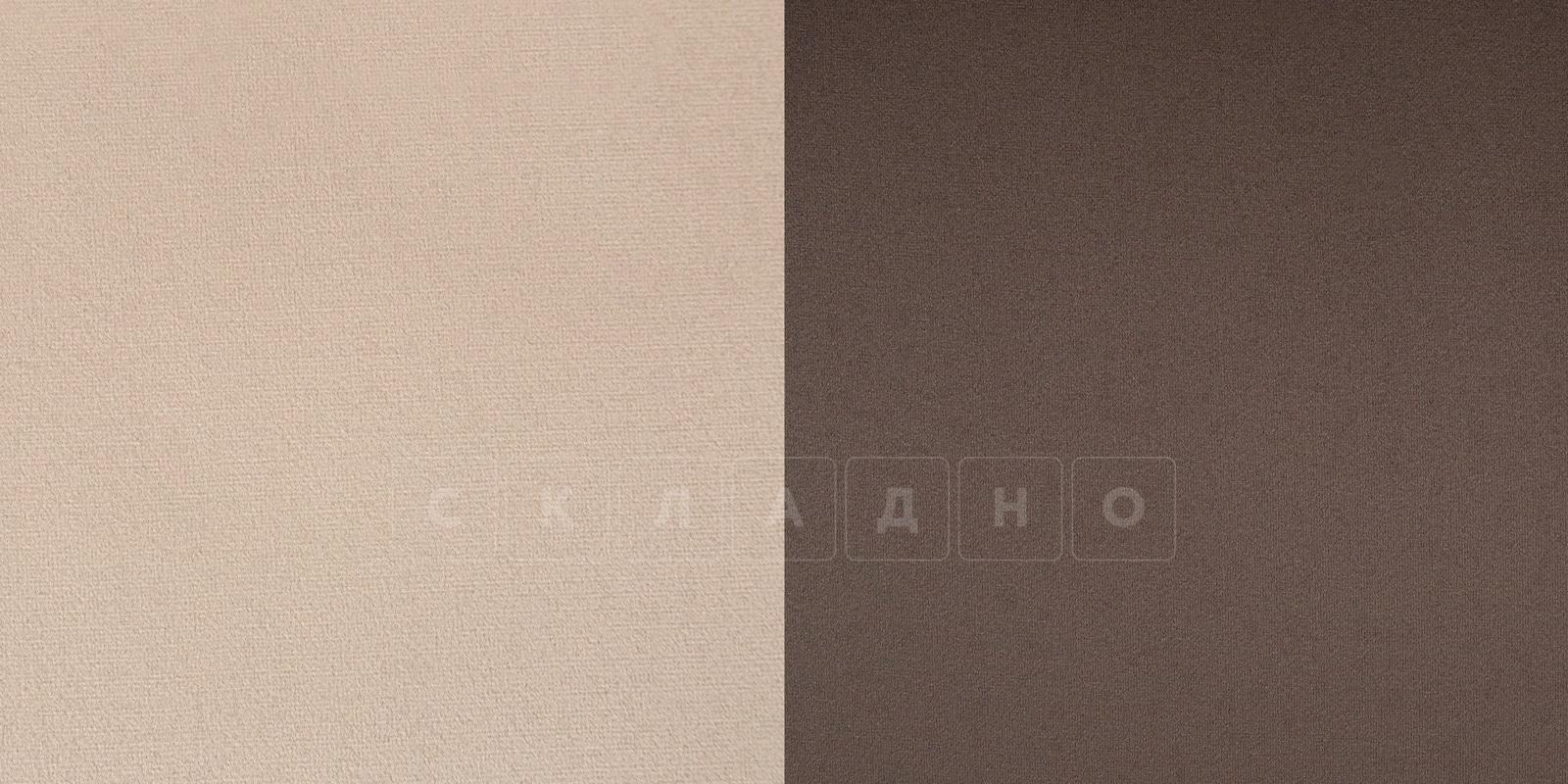 Диван угловой Бристоль велюр бежевый с коричневым правый угол фото 7 | интернет-магазин Складно