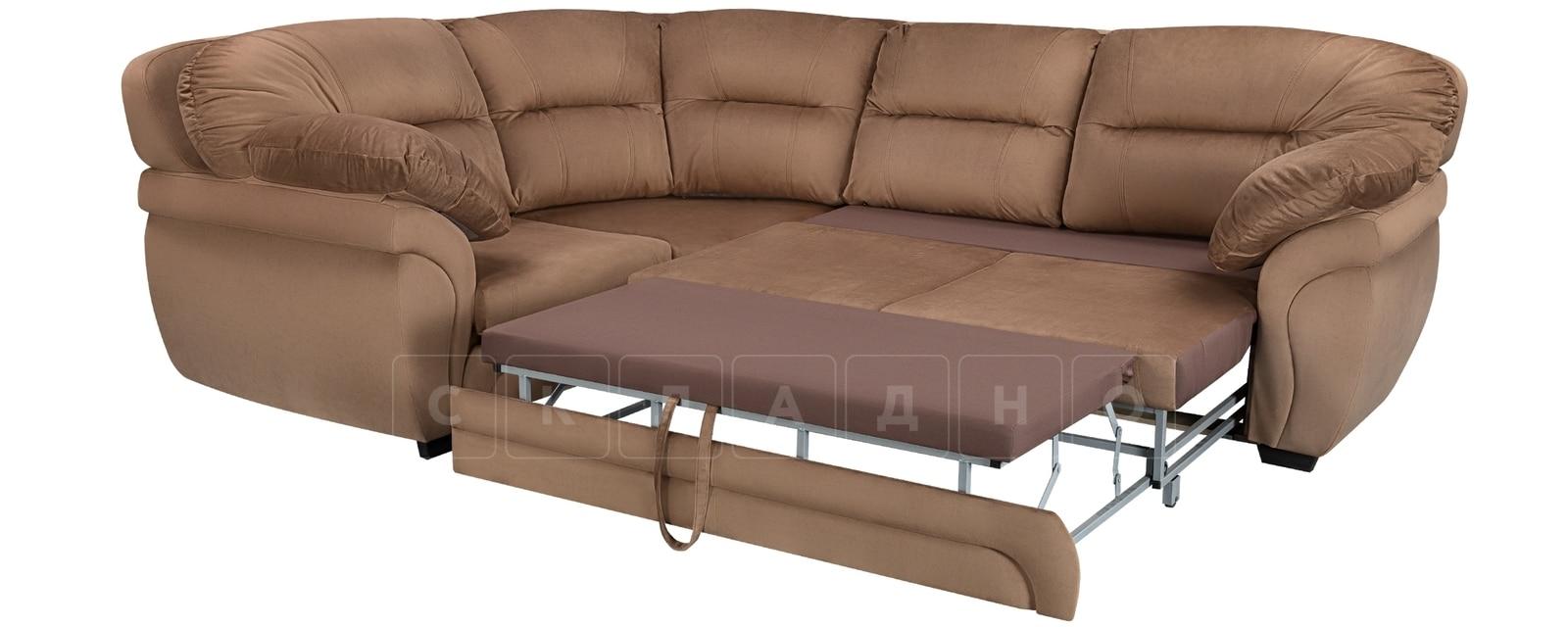 Диван угловой Бристоль велюр коричневый левый угол фото 4 | интернет-магазин Складно