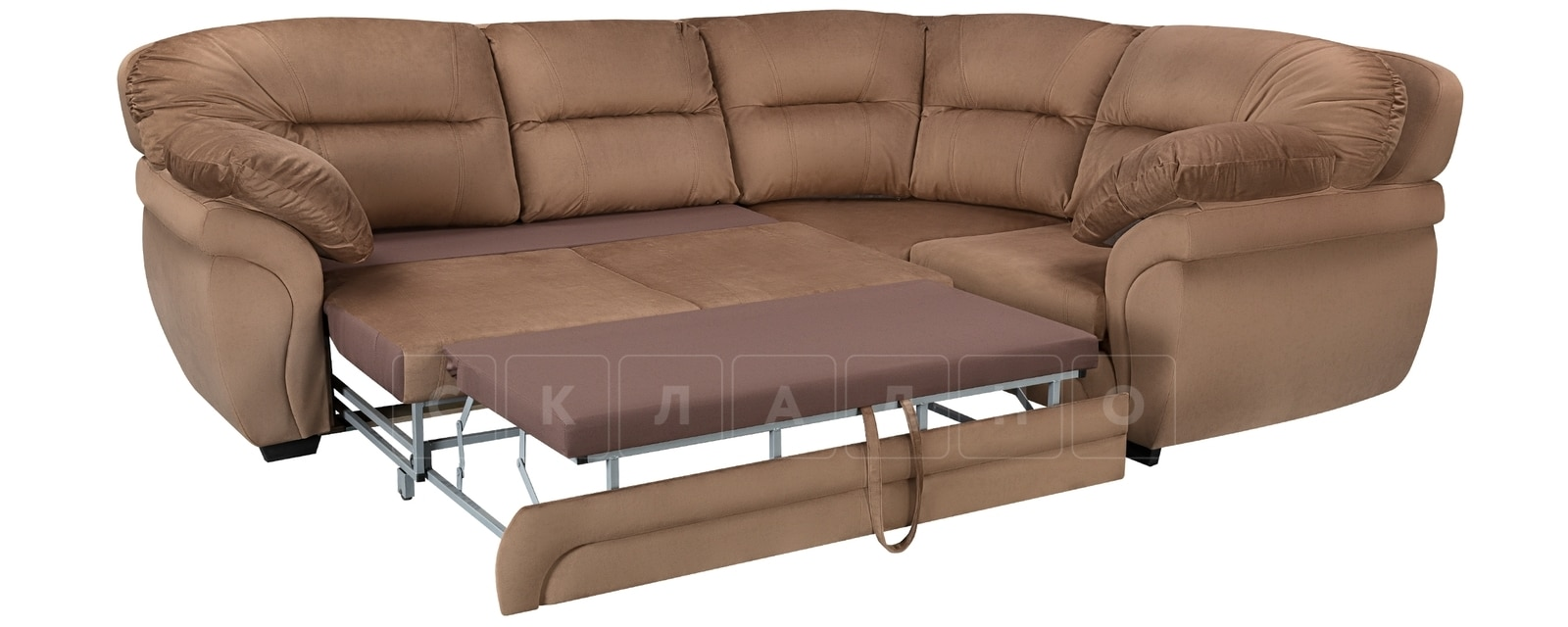 Диван угловой Бристоль велюр коричневый правый угол фото 4 | интернет-магазин Складно