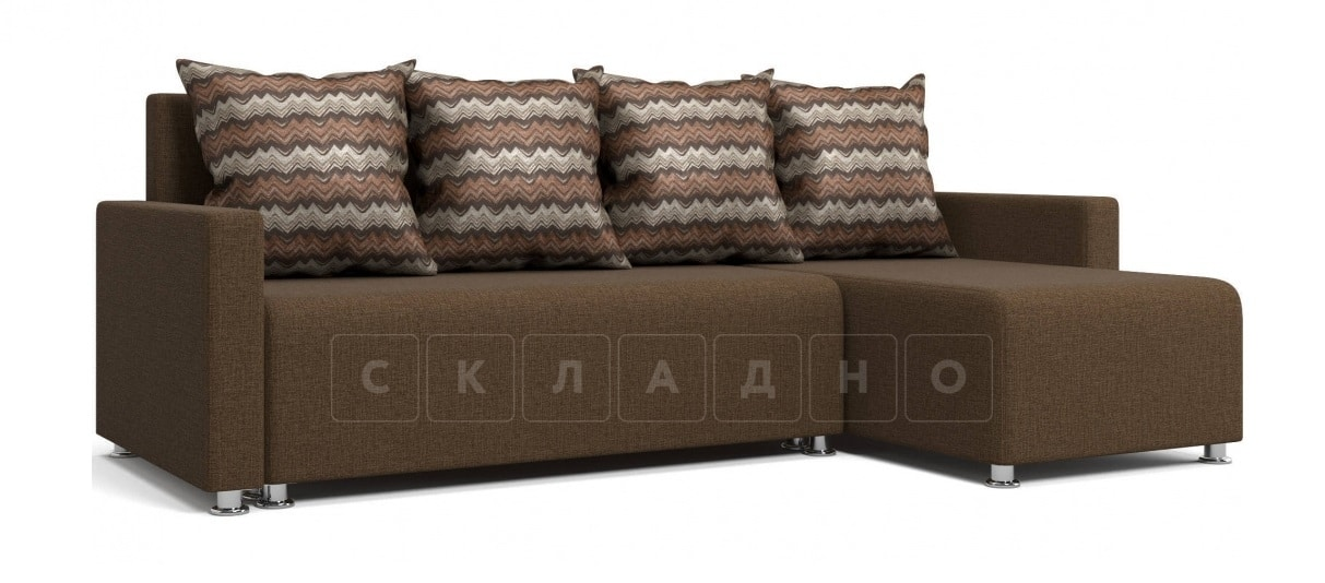 Угловой диван Челси коричневый фото 1 | интернет-магазин Складно