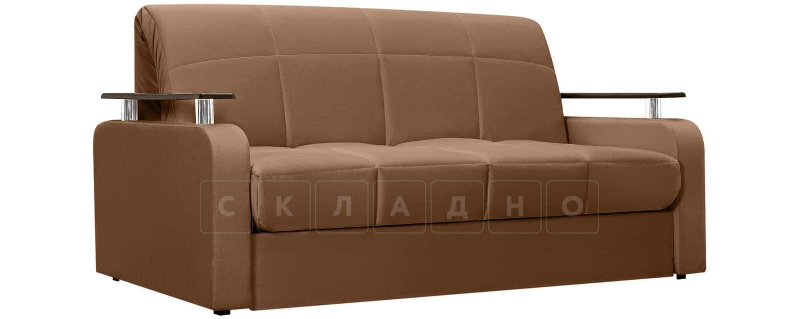 Диван прямой Денвер велюр коричневый фото 1 | интернет-магазин Складно