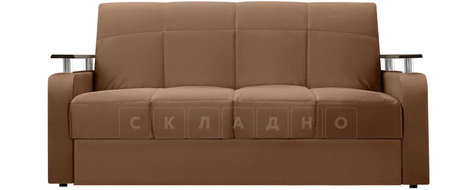 Диван прямой Денвер велюр коричневый фото 2 | интернет-магазин Складно