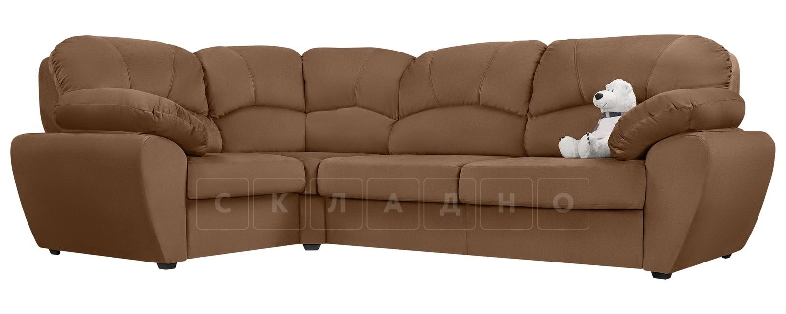 Угловой диван Эвита велюр коричневый левый угол фото 1 | интернет-магазин Складно