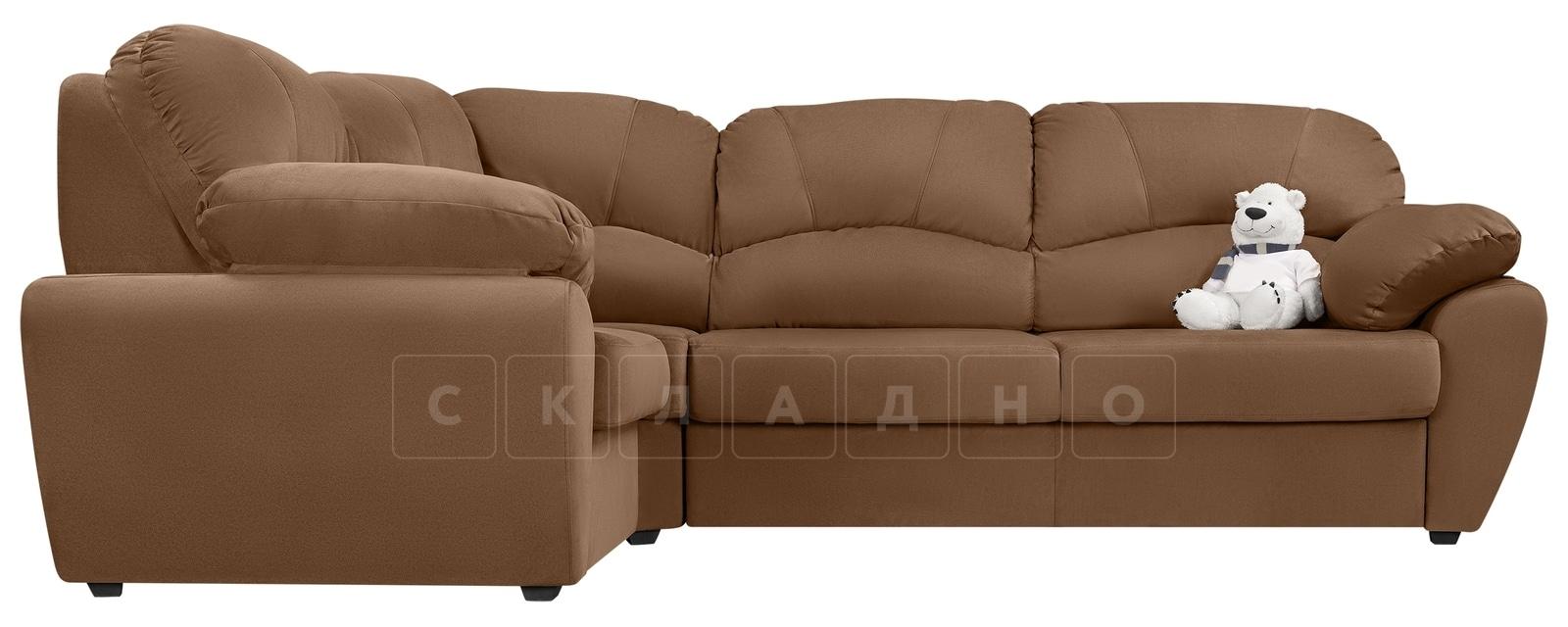 Угловой диван Эвита велюр коричневый левый угол фото 2 | интернет-магазин Складно