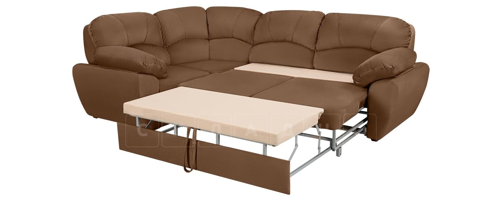 Угловой диван Эвита велюр коричневый левый угол фото 4 | интернет-магазин Складно