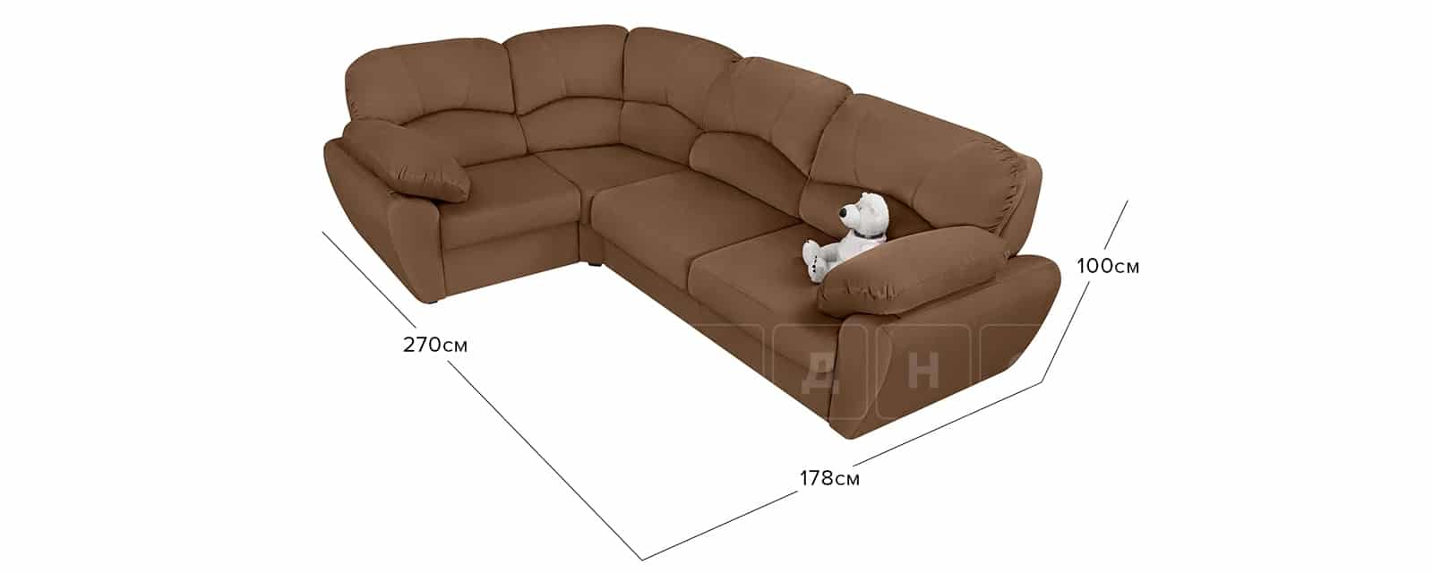 Угловой диван Эвита велюр коричневый левый угол фото 7 | интернет-магазин Складно