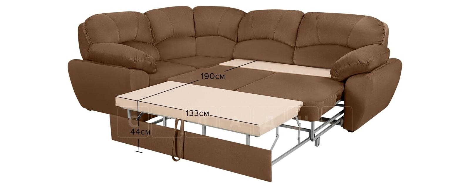 Угловой диван Эвита велюр коричневый левый угол фото 8 | интернет-магазин Складно
