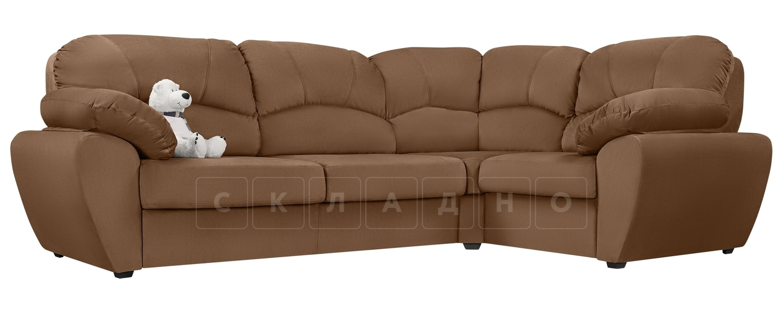 Угловой диван Эвита велюр коричневый правый угол фото 1 | интернет-магазин Складно
