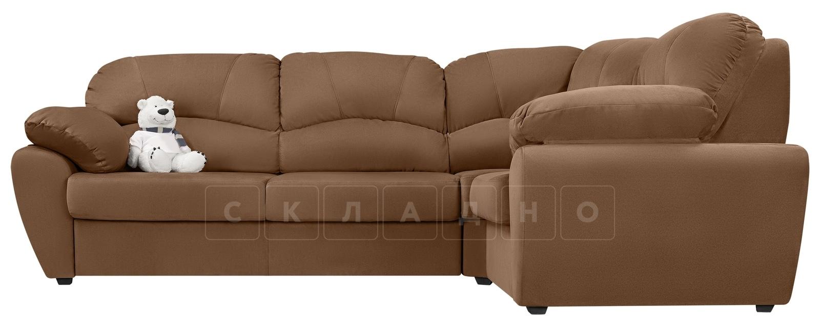 Угловой диван Эвита велюр коричневый правый угол фото 2 | интернет-магазин Складно