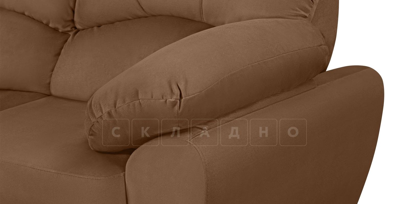 Угловой диван Эвита велюр коричневый левый угол фото 5 | интернет-магазин Складно