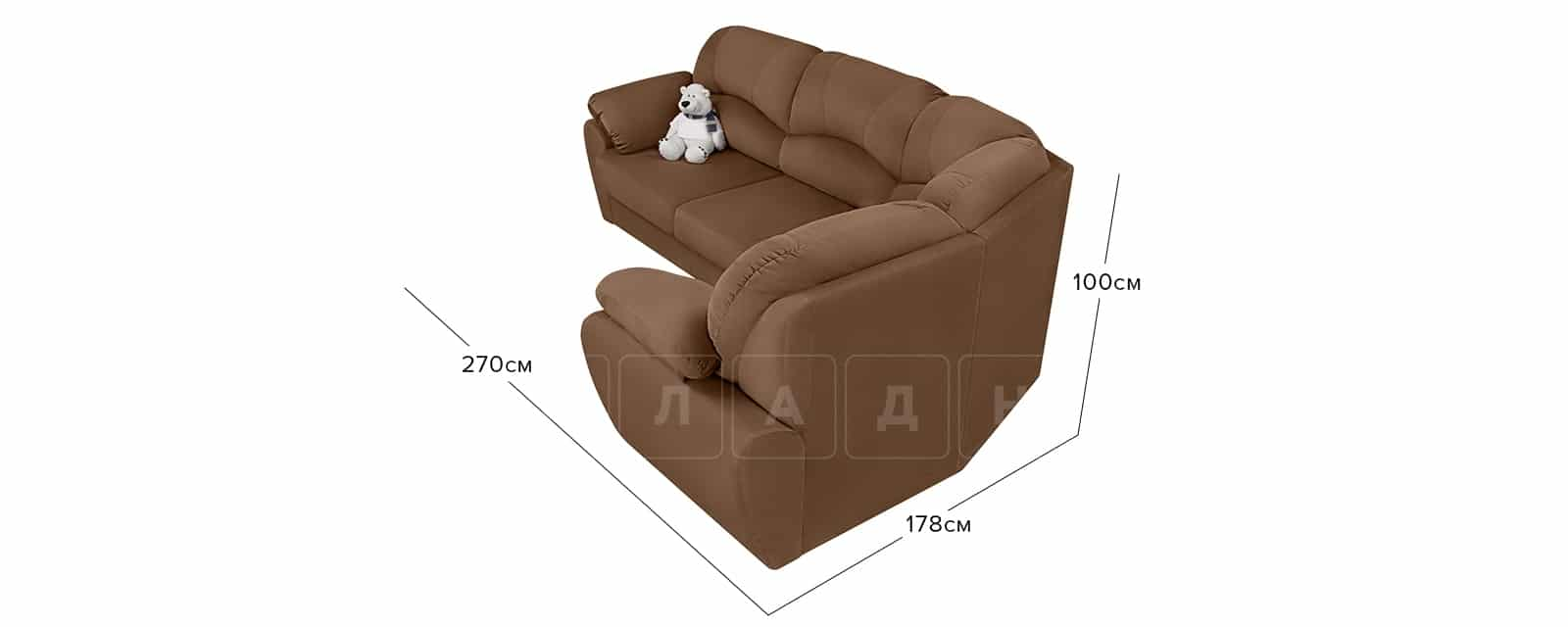 Угловой диван Эвита велюр коричневый правый угол фото 7 | интернет-магазин Складно