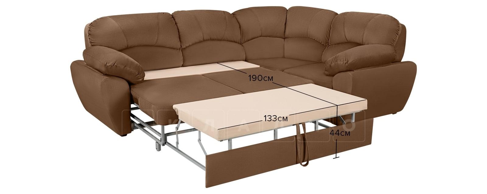 Угловой диван Эвита велюр коричневый правый угол фото 8 | интернет-магазин Складно