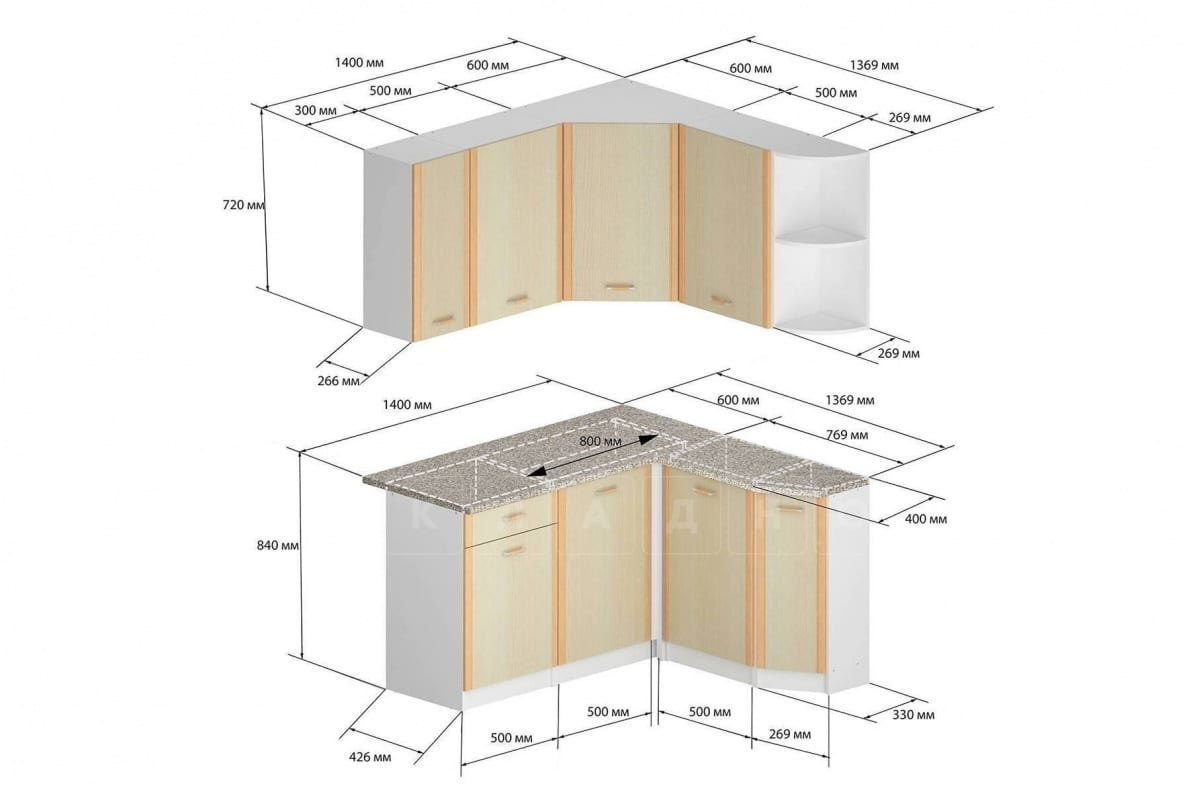Кухня угловая Бланка 1,4х1,4м дуб кремона правая фото 2 | интернет-магазин Складно