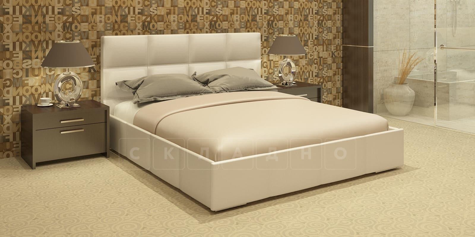 Мягкая кровать Лайф 160см перламутр с подъемным механизмом фото 1 | интернет-магазин Складно