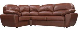 Угловой диван Эвита кожаный коричневый левый угол-3164 фото | интернет-магазин Складно