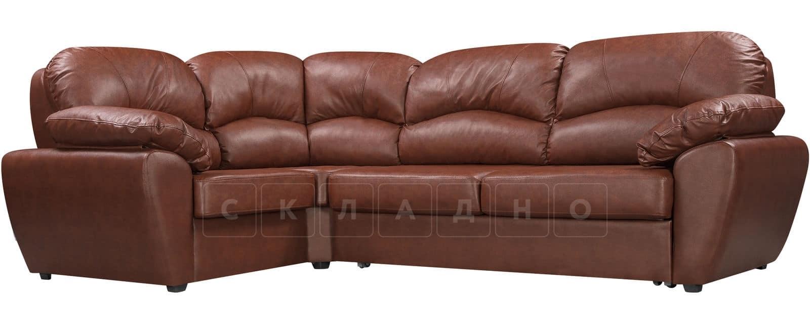 Угловой диван Эвита кожаный коричневый левый угол фото 1   интернет-магазин Складно