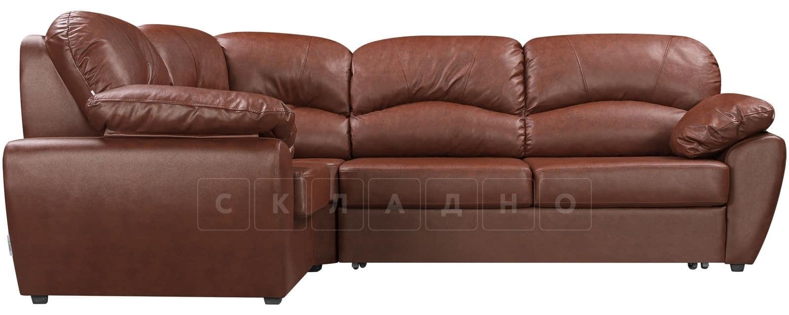 Угловой диван Эвита кожаный коричневый левый угол фото 2   интернет-магазин Складно