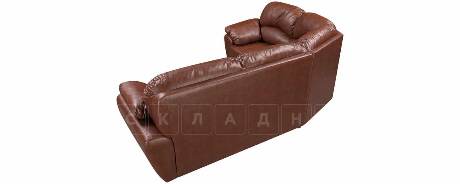 Угловой диван Эвита кожаный коричневый левый угол фото 3   интернет-магазин Складно