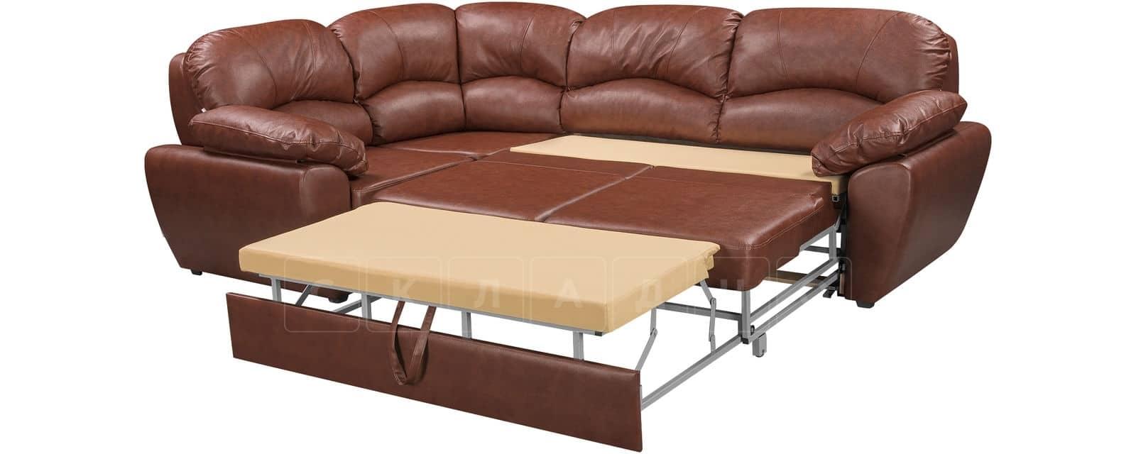 Угловой диван Эвита кожаный коричневый левый угол фото 5   интернет-магазин Складно