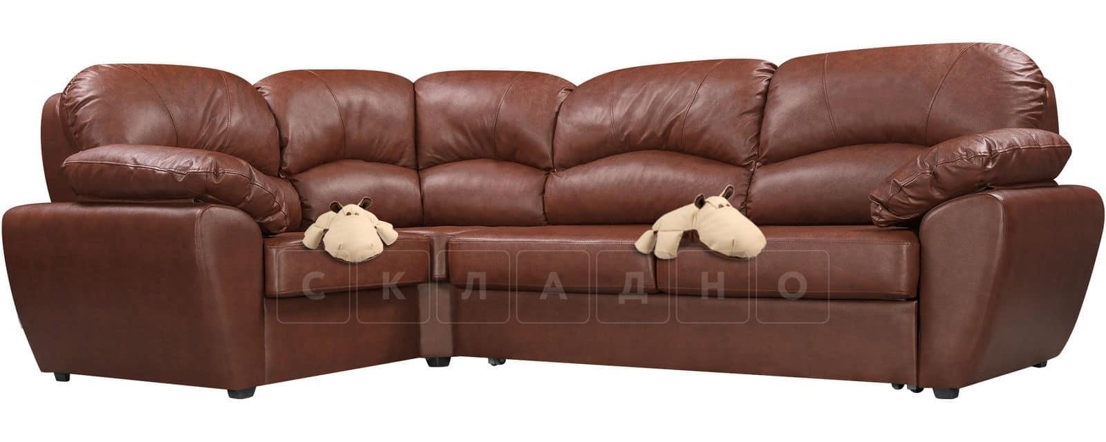 Угловой диван Эвита кожаный коричневый левый угол фото 4   интернет-магазин Складно