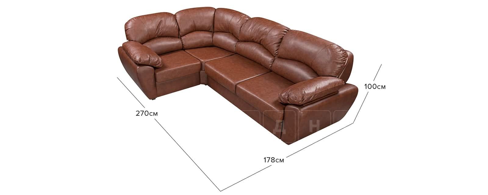 Угловой диван Эвита кожаный коричневый левый угол фото 11   интернет-магазин Складно