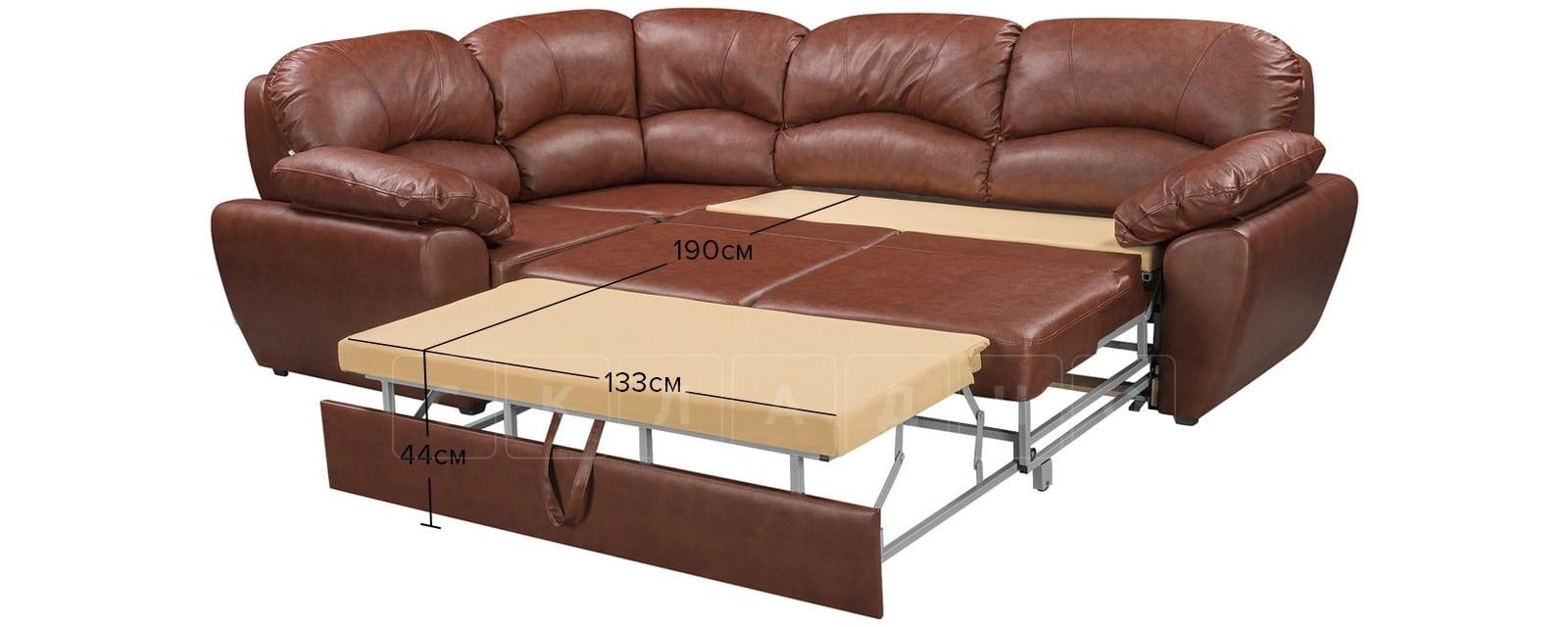 Угловой диван Эвита кожаный коричневый левый угол фото 12   интернет-магазин Складно