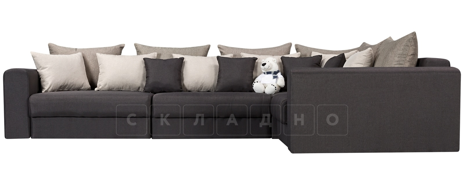 Угловой диван Медисон темно-серый 345х224см фото 2 | интернет-магазин Складно