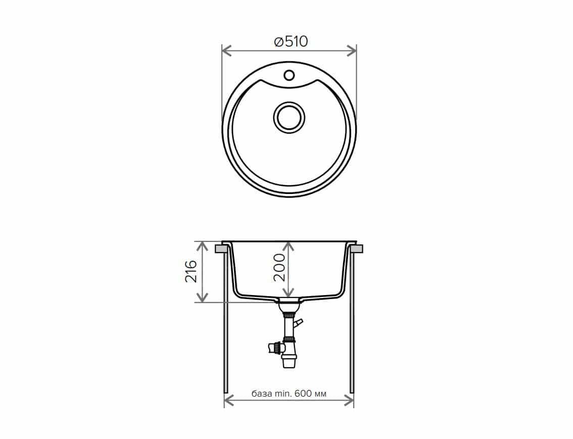Кухонная мойка TOLERO R-108Е кварцевая D51 с выступом фото 9   интернет-магазин Складно