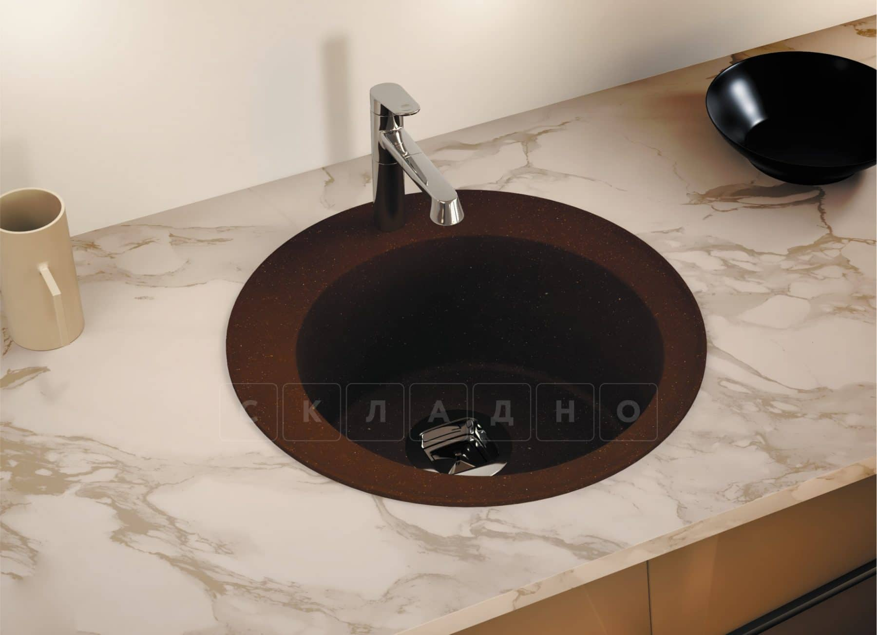 Кухонная мойка TOLERO R-108 кварцевая D51 круглая фото 10 | интернет-магазин Складно
