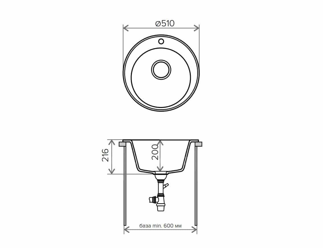 Кухонная мойка TOLERO R-108 кварцевая D51 круглая фото 9 | интернет-магазин Складно