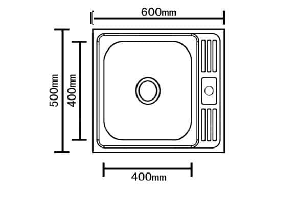 Кухонная мойка накладная металлическая 50 см S0,8х180 фото 2 | интернет-магазин Складно