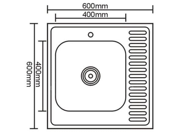 Кухонная мойка накладная металлическая 60см S0,8х180 фото 2 | интернет-магазин Складно