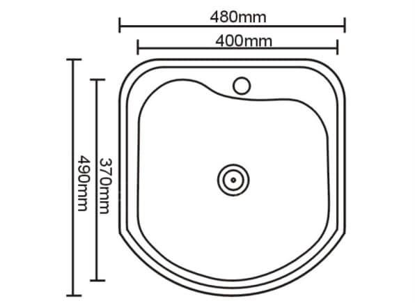 Кухонная мойка врезная металлическая 49х49см фото 2 | интернет-магазин Складно