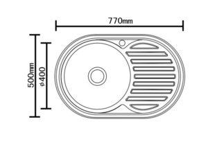 Кухонная мойка врезная металлическая 77х50 см овальная 2450 рублей, фото 3 | интернет-магазин Складно