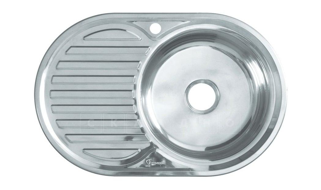 Кухонная мойка врезная металлическая 77х50 см овальная фото 2 | интернет-магазин Складно