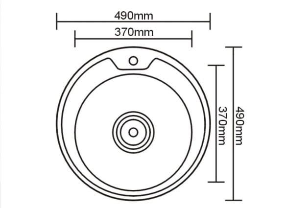 Кухонная мойка врезная металлическая D49см круглая S0,6х160 фото 2 | интернет-магазин Складно