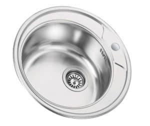 Кухонная мойка врезная металлическая D49см круглая S0,8х180 фото | интернет-магазин Складно