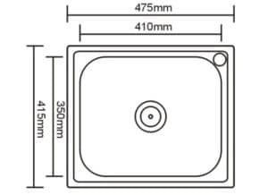 Кухонная мойка врезная металлическая 48х42 см 2160 рублей, фото 2 | интернет-магазин Складно